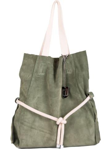 """Lucca Baldi Skórzana shopper bag """"Cecina"""" w kolorze oliwkowym - 40 x 44 x 7 cm"""