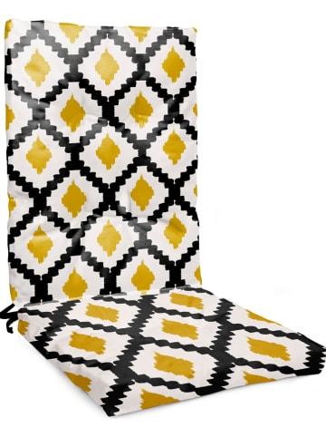 "Really Nice Things Zitkussen ""Ikat Mustard"" wit/zwart/geel - (L)105 x (B)45 cm"