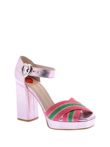 Love Moschino Sandały w kolorze różowo-czerwono-zielonym