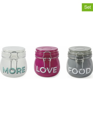 "Villa d´Este 3er-Set: Vorratsbehälter ""Love More Food"" in Weiß/ Pink/ Grau - 500 ml"