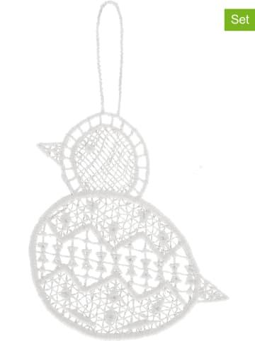 """Juna 6er-Set: Dekohänger """"Påskekylling"""" in Weiß - (B)8,5 x (H)9,5 cm"""