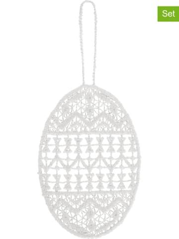 "Juna 6er-Set: Dekohänger ""Påskeæg"" in Weiß - (B)6 x (H)8,5 cm"