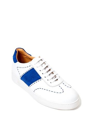 British Passport Leder-Sneakers in Weiß/ Blau