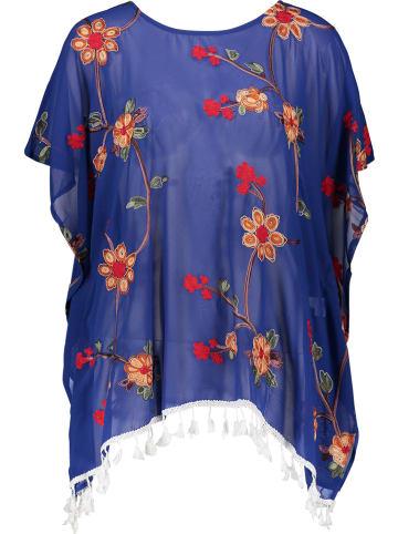 Kiss & Love Tunika w kolorze niebieskim ze wzorem