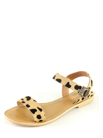"""Manoukian shoes Leren sandalen """"Ilda"""" beige/zwart"""