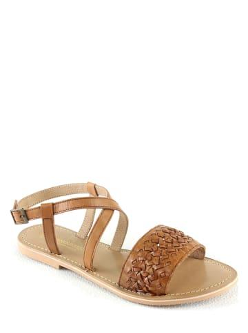"""Manoukian shoes Leren sandalen """"Inga"""" lichtbruin"""