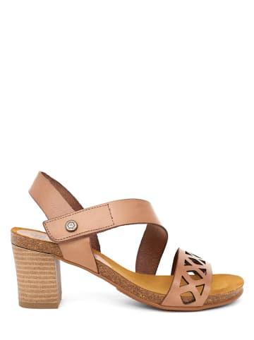 Mia Loé Leder-Sandaletten in Beige