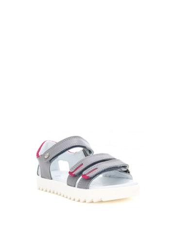 Bartek Skórzane sandały w kolorze szaro-różowym