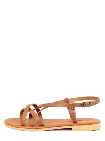 ALICE CARLOTTI Skórzane sandały w kolorze brązowym