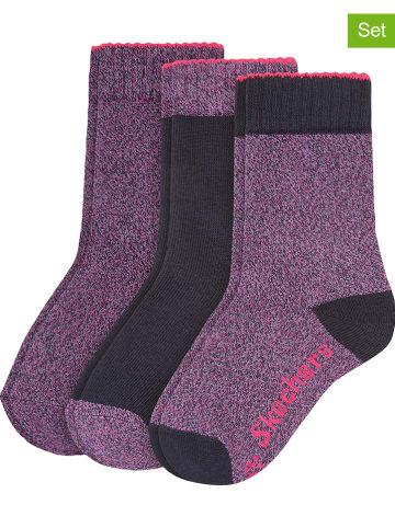 Skechers 3-delige set: sokken paars