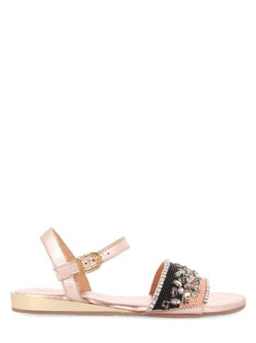 Gioseppo Skórzane sandały w kolorze złotym