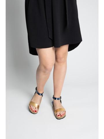 """Bluebay Leder-Sandalen """"Wellington"""" in Dunkelblau/ Gold"""