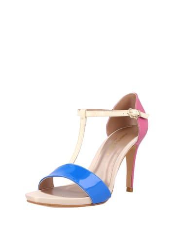 Roberto Botella Skórzane sandały w kolorze niebiesko-złoto-różowym