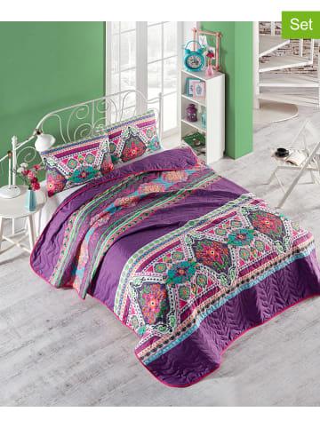 """Colourful Cotton 3-częściowy zestaw """"Rug"""" w kolorze fioletowym ze wzorem"""