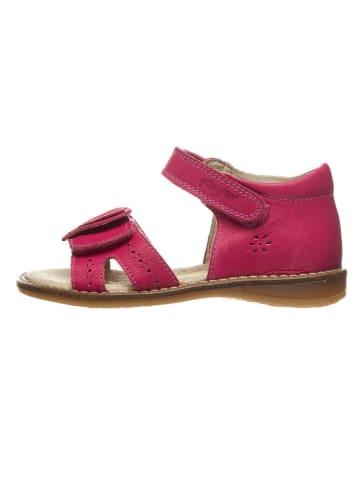 POM POM Skórzane sandały w kolorze różowym