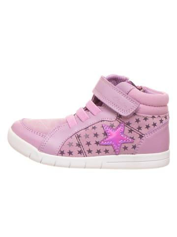 "Clarks Skórzane sneakersy ""Emery Beat"" w kolorze fioletowym"