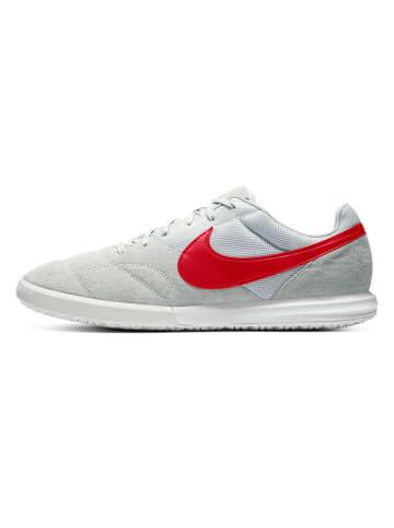 """Nike Skórzane buty """"Premier"""" w kolorze jasnoszaro-czerwonym do piłki nożnej"""