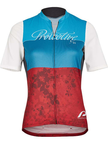 "Protective Fietsshirt ""Roses"" blauw/rood"
