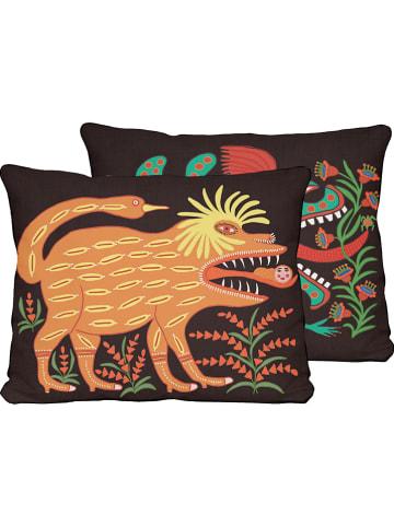 """Madre Selva Poszewka """"Hut"""" w kolorze czarnym ze wzorem na poduszkę - 50 x 35 cm"""