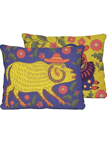 """Really Nice Things Poszewka """"Vento"""" w kolorze niebiesko-żółtym na poduszkę - 50 x 35 cm"""