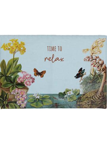 """Really Nice Things Dywanik łazienkowy """"Time to Relax"""" w kolorze błękitnym ze wzorem - 60 x 40 cm"""