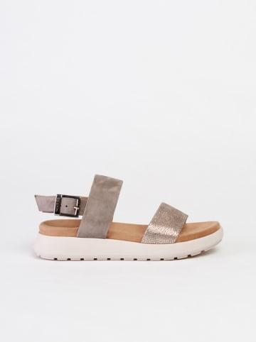 Baldinini Leren sandalen taupe/goudkleurig