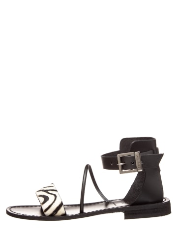 Baldinini Leder-Sandalen in Schwarz/ Weiß