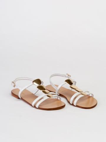 "Baldinini Leren sandalen ""St. Cocco"" wit/goudkleurig"
