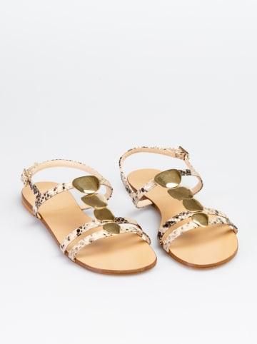 """Baldinini Leren sandalen """"St. Pitone"""" beige/goudkleurig"""