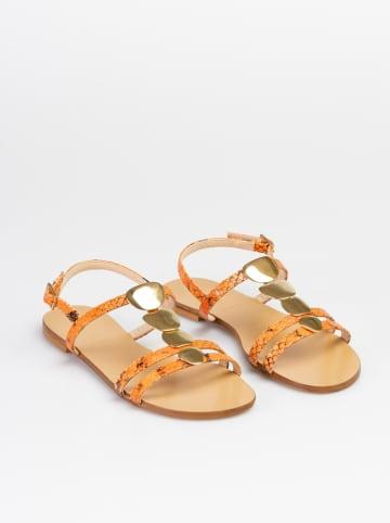 """Baldinini Leren sandalen """"St. Pitone"""" oranje/goudkleurig"""