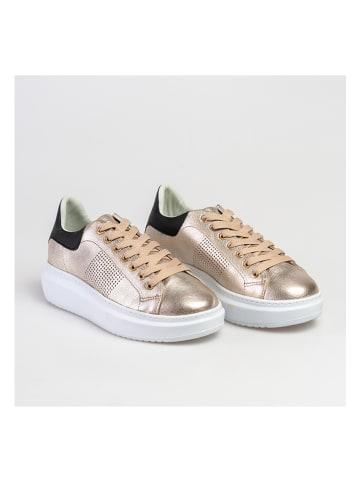 Baldinini Leren sneakers goudkleurig