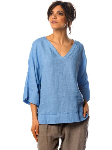 "100% Linen Leinen-Shirt ""Capucine"" in Blau"