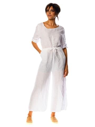 La Compagnie Du Lin Lniany kombinezon w kolorze białym