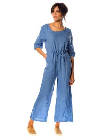 "100% Linen Leinen-Jumpsuit ""Dalhia"" in Blau"