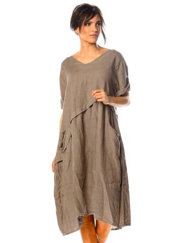 """La Fabrique du Lin Lniana sukienka """"Garance"""" w kolorze szarobrązowym"""