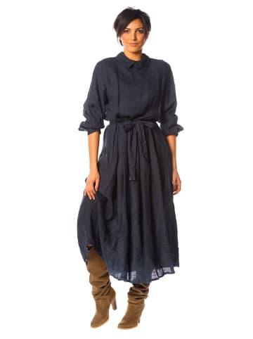 La Compagnie Du Lin Lniana sukienka w kolorze granatowym