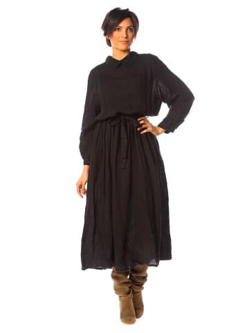"La Compagnie Du Lin Linnen jurk ""Iris"" zwart"