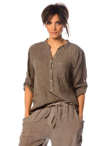 """La Fabrique du Lin Linnen blouse """"Lilyane"""" lichtbruin"""