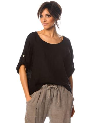 "La Fabrique du Lin Lniana koszulka ""Magnolia"" w kolorze czarnym"