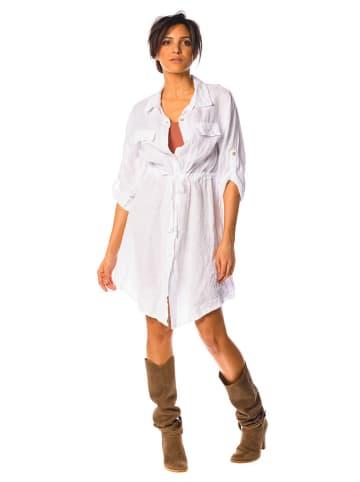 La Compagnie Du Lin Lniana sukienka w kolorze białym
