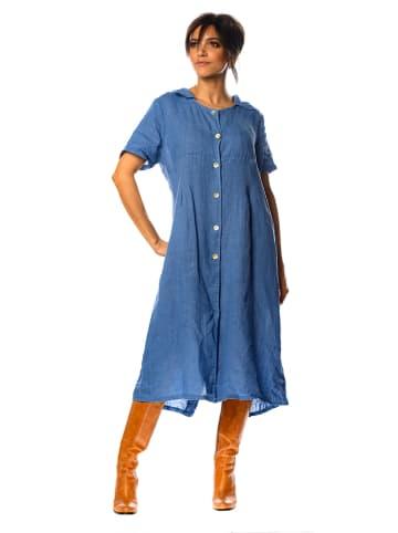 """100% Linen Leinen-Kleid """"Rose"""" in Blau"""
