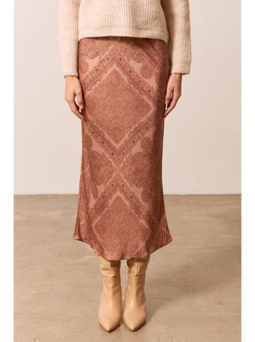 Bynamesakke Spódnica w kolorze beżowym ze wzorem
