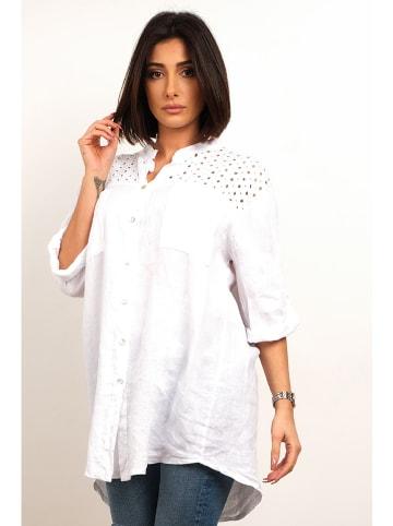 """Plus Size Fashion Lniana bluzka """"Maria"""" w kolorze białym"""