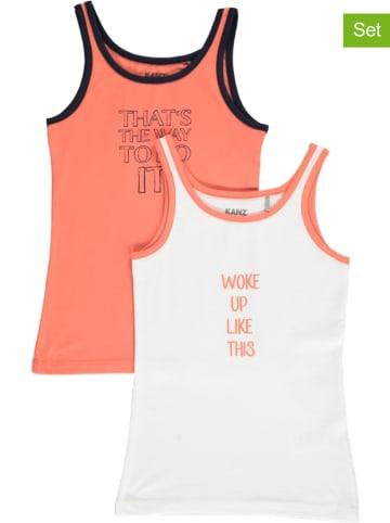 Kanz 2-delige set: onderhemden wit/abrikooskleurig