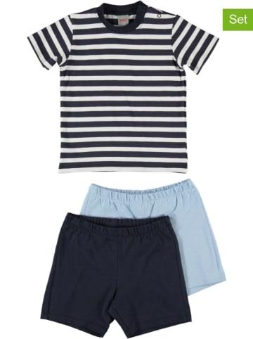 Kanz 3-delige  pyjama donkerblauw/lichtblauw