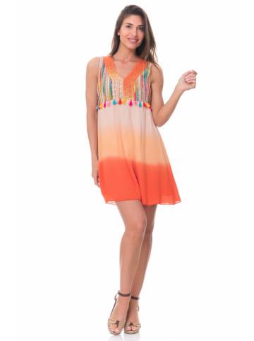 Peace & Love Sukienka w kolorze pomarańczowym ze wzorem
