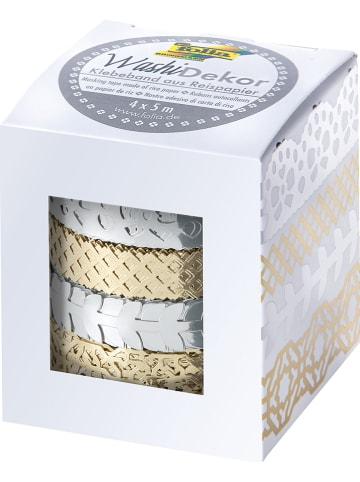 Folia Taśma klejąca w kolorze srebrno-złotym - 4 x 5