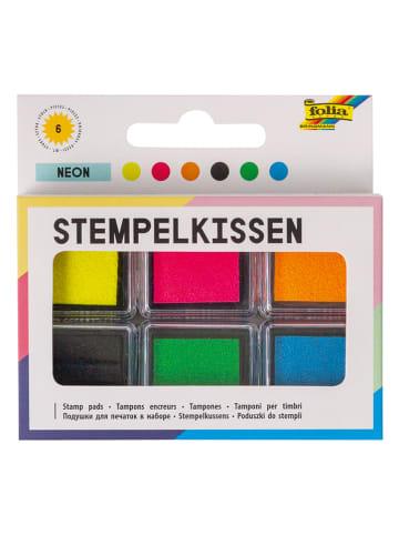 """Folia Stempelkussens """"Neon"""" meerkleurig - 6 stuks"""
