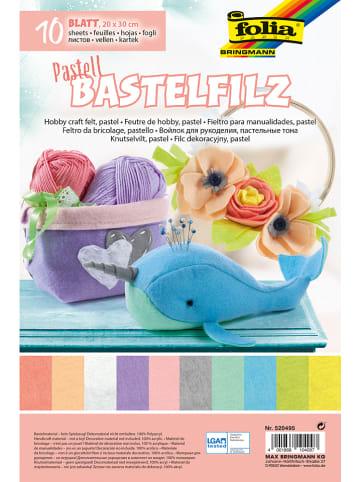 """Folia Zestaw arkuszy filcowych (10 szt.) """"Pastell"""" w różnych kolorach - 30 x 20 cm"""