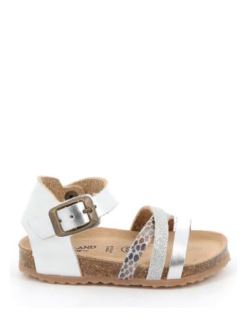 Grünland Leren sandalen zilverkleurig
